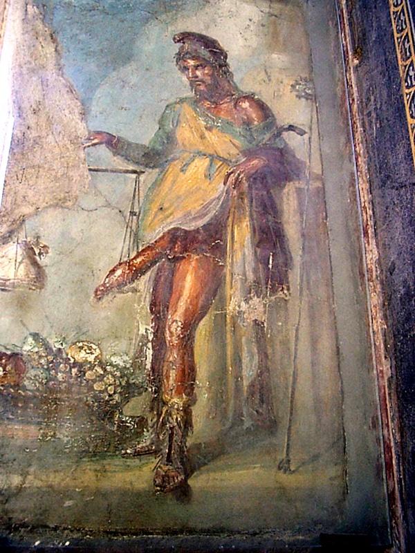Fresque romaine représentant un homme pesant son énorme sexe
