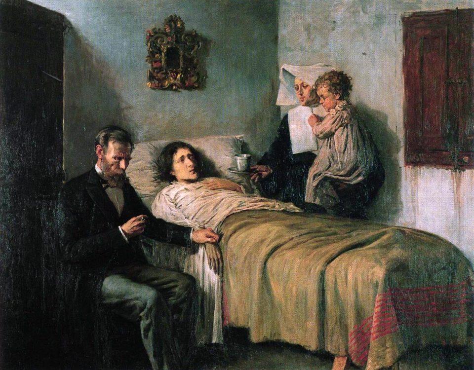 Tableau de jeunesse de Picasso représentant un médecin et une nonne au chevet d'un malade
