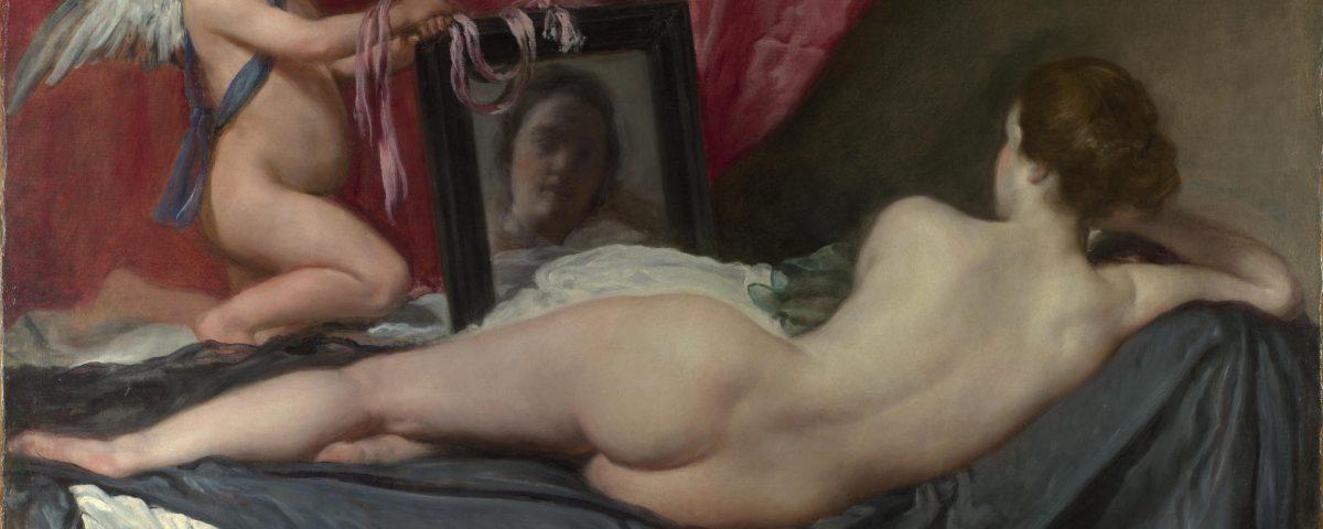 Tableau de Diego Velásquez représentant Vénus allongée nue sur un lit, dos au spectateur, le reflet de son visage nous étant offert par un miroir tenu par Cupidon.